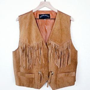 Vintage Spring West Western Leather Fringe Vest